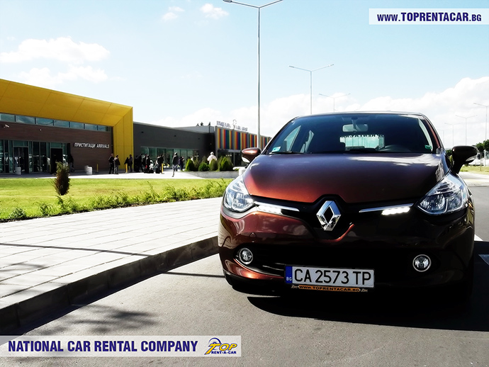 Renault Clio 4 from Top Rent A Car in front of Varna Airport